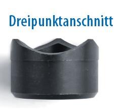 Schraublochstanzer, Schraublocher oder Lochstanzer: Dreipunktanschnitt