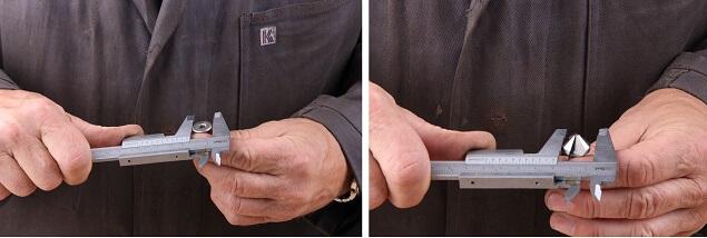 Schraube und Senker messen