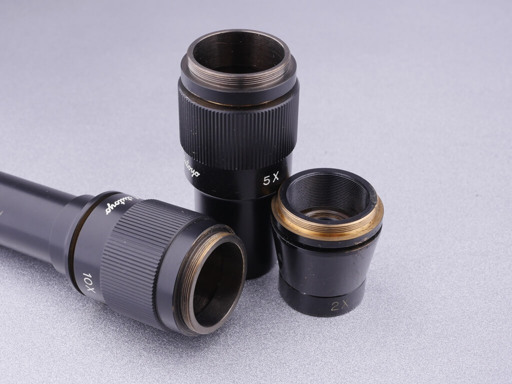 Mikroskop-Objektiv-Gewinde, RMS-Gewinde, Mikroskop: 2x, 5x und 10x Vergrößerungsobjektive