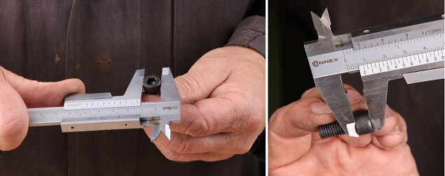 Senkvorgang beim Flachsenker Schritt 1: Schraubkopfdurchmesser mit Hilfe einer Schieblehre messen