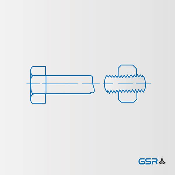 Technische Zeichnung Schwachstellen von Schraubenverbindungen: Übergang vom Schraubenschaft zum Gewinde