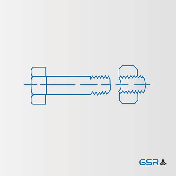 Technische Zeichnung Schwachstellen von Schraubenverbindungen: erste Gewindegang