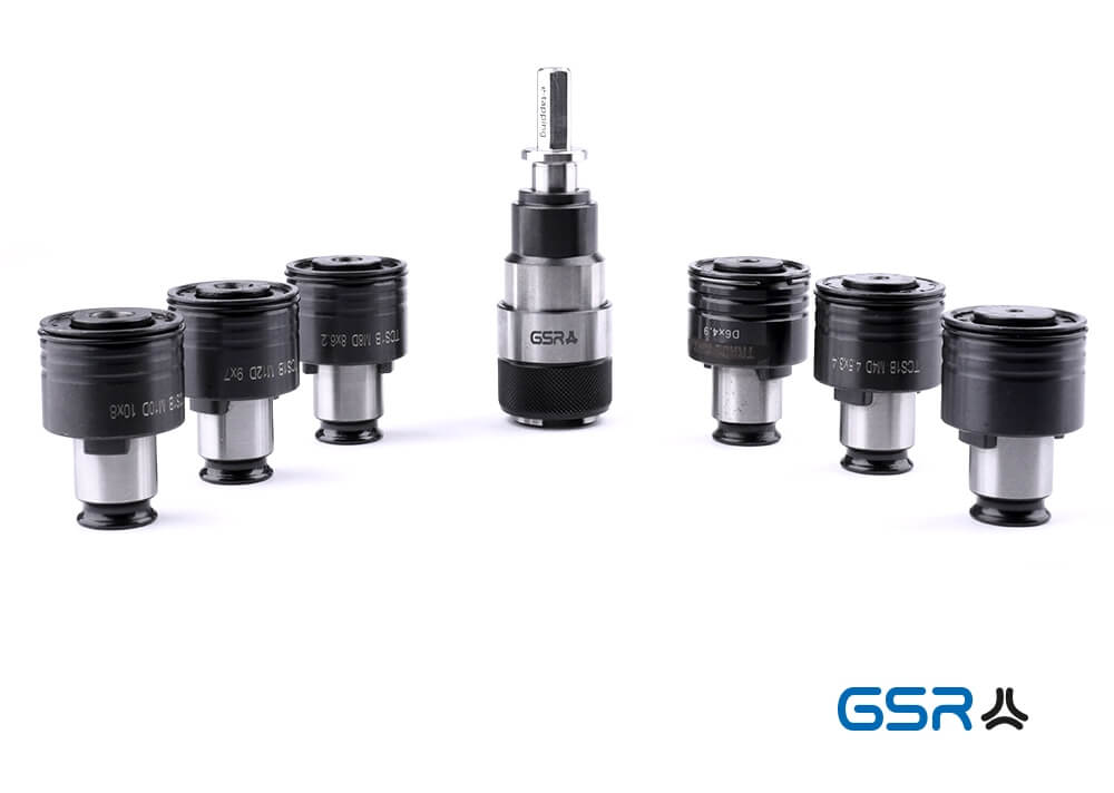 Übersichtsbild vom Gewindeschneid-QC-Adapter e-Tapping für Akkuschrauber mit allen 6 Schnellwechseleinsätzen