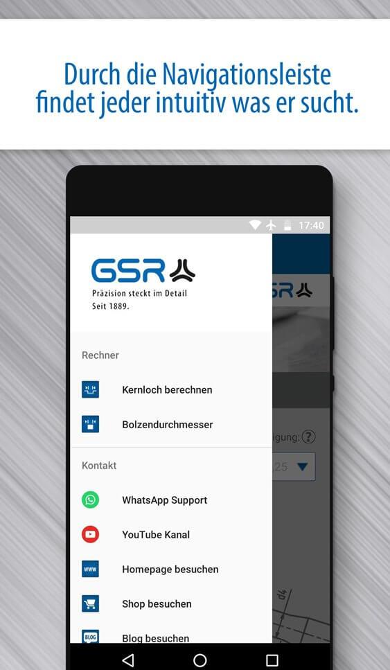 Screenshot der GSR Gewinde Rechner App: Naviagationsmenü mit Kernlochberechnung, Bolzendurchmesser und Verlinkungen zum WhatsApp-Support, YouTube Kanal, Blog, Shop und Homepage