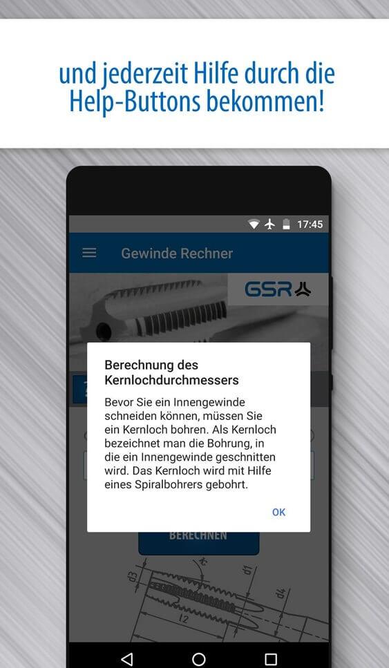 Screenshot der GSR Gewinde Rechner App: Integrierte Definitionen und Erklärungen mit Help-Buttons