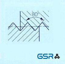 Technische Zeichnung eines Stahlpanzerrohrgewinde / Panzergewinde (Pg) DIN 40430 mit 80 Grad Flankenwinkel