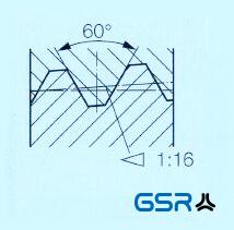 Technische Zeichnung: National Taper Pipe (NPT) Rohrgewinde mit 60 Grad Flankenwinkel