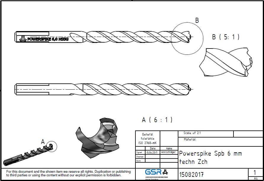 GSR PowerSpike Metallbohrer für Akkuschrauber: Technische Zeichnung