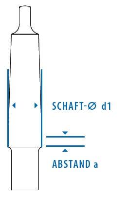 Technische Zeichung eines Morsekegels: Abstand und Schaft